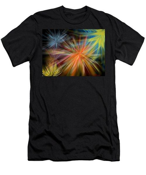 Men's T-Shirt (Slim Fit) featuring the digital art Fireworks by Christine Fournier