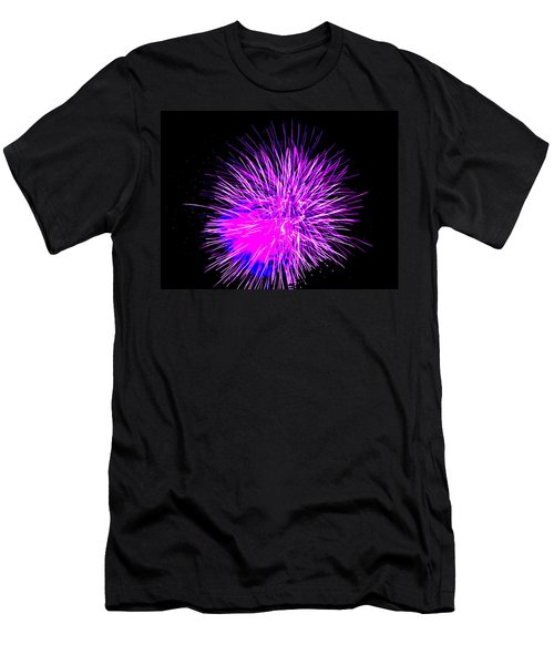 Fireworks In Purple Men's T-Shirt (Slim Fit) by Michael Porchik