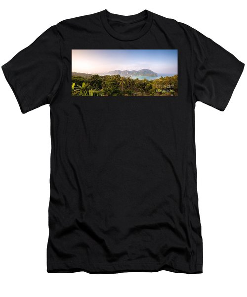 First Light Over Tropical Island Men's T-Shirt (Athletic Fit)