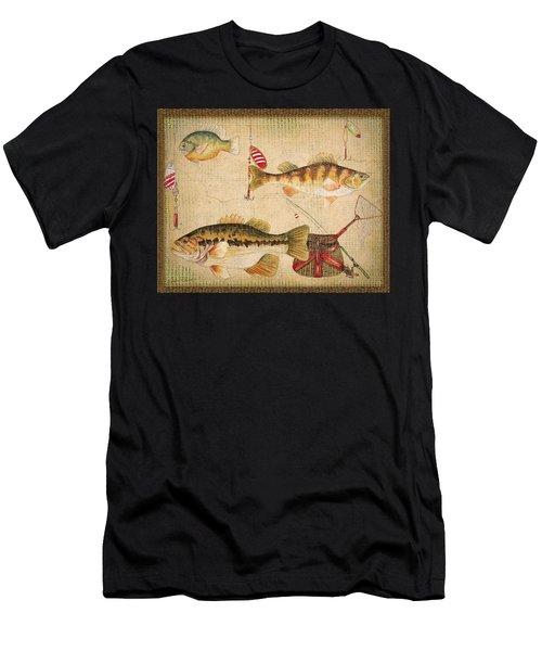 Fish Trio-a-basket Weave Border Men's T-Shirt (Athletic Fit)