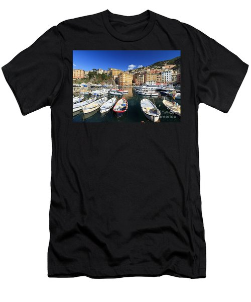 Men's T-Shirt (Slim Fit) featuring the photograph fishing boats in Camogli by Antonio Scarpi