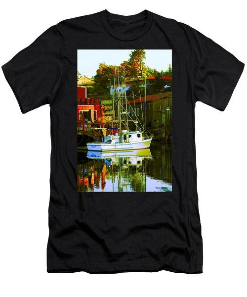 Fish'n Boat At Harbor Men's T-Shirt (Athletic Fit)
