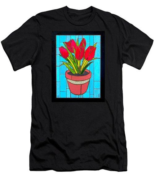 Five Red Tulips Men's T-Shirt (Slim Fit)
