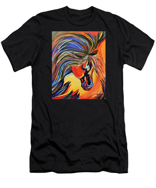 Flame Bold And Colorful War Horse Men's T-Shirt (Athletic Fit)