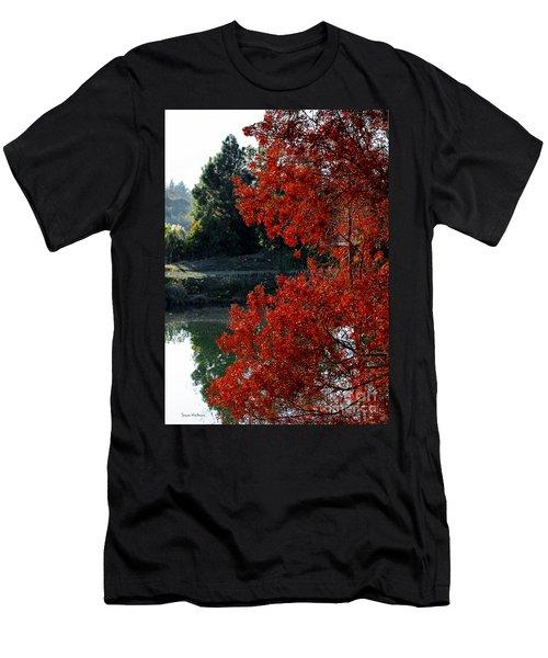 Flame Red Tree Men's T-Shirt (Slim Fit) by Susan Wiedmann