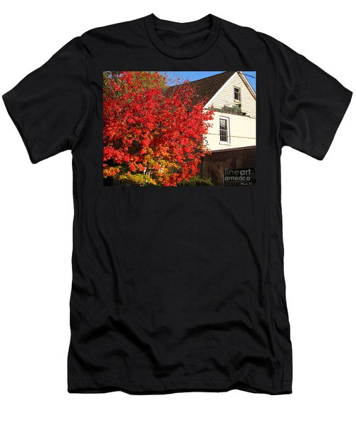 Men's T-Shirt (Slim Fit) featuring the photograph Flaming Fall Colours On Farm House by Nina Silver