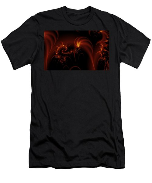 Floating Fire Fractal Men's T-Shirt (Slim Fit) by Fran Riley