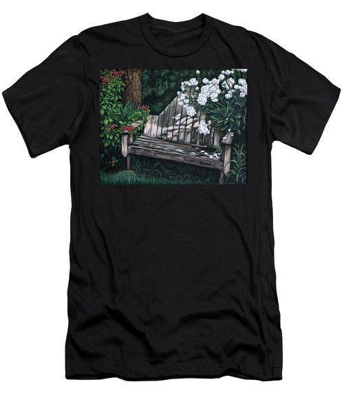 Men's T-Shirt (Slim Fit) featuring the painting Flower Garden Seat by Penny Birch-Williams