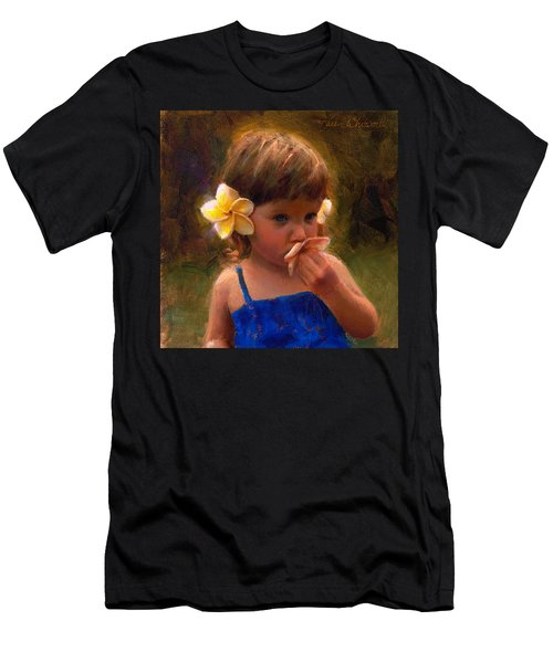 Flower Girl - Tropical Portrait With Plumeria Flowers Men's T-Shirt (Athletic Fit)