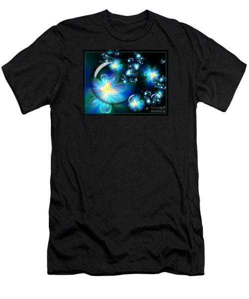 Flower Marble Fractal Men's T-Shirt (Slim Fit) by Lena Auxier