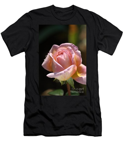 Flower-pink And Yellow Rose-bud Men's T-Shirt (Athletic Fit)