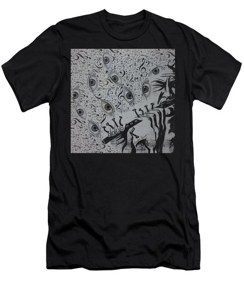 Men's T-Shirt (Slim Fit) featuring the mixed media Flute Concerto In Eye Minor by Douglas Fromm