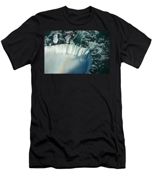 Flying Over Icy Niagara Falls Men's T-Shirt (Athletic Fit)
