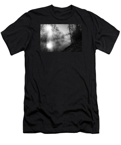 Foggy Misty Morning Sunrise On James River Men's T-Shirt (Slim Fit) by Jennifer White