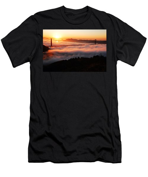 Men's T-Shirt (Slim Fit) featuring the photograph Foggy Morning San Francisco by James Kirkikis