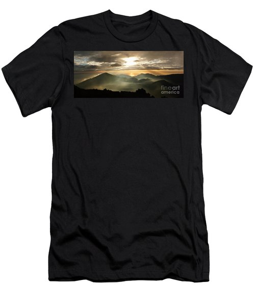 Foggy Sunrise Over Haleakala Crater On Maui Island In Hawaii Men's T-Shirt (Athletic Fit)