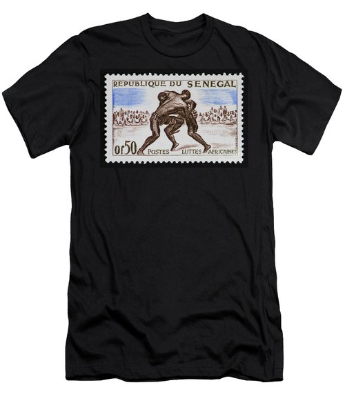 Folk Wrestling Vintage Postage Stamp Print Men's T-Shirt (Athletic Fit)