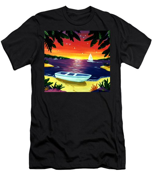 Men's T-Shirt (Slim Fit) featuring the painting Footprints In Paradise by Lance Headlee