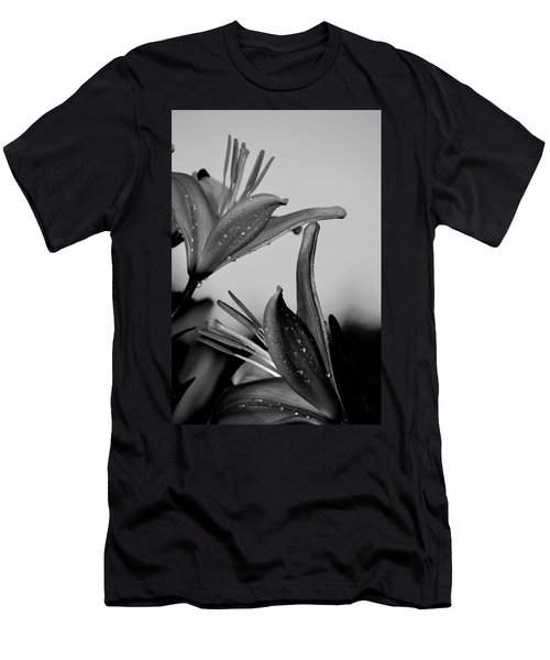 For The Love Of Lillies Bw Men's T-Shirt (Slim Fit) by Lesa Fine