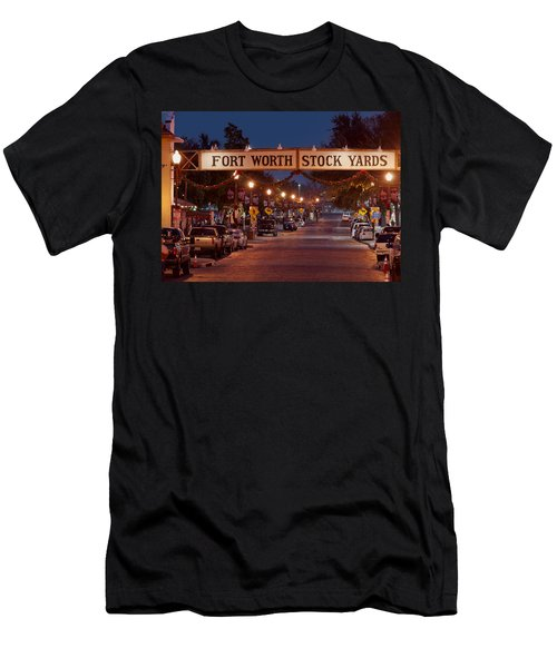 Fort Worth Stock Yards Night Men's T-Shirt (Athletic Fit)