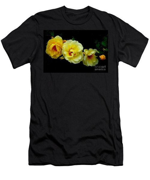 Men's T-Shirt (Slim Fit) featuring the photograph Four Stages Of Bloom Of A Yellow Rose by Janette Boyd