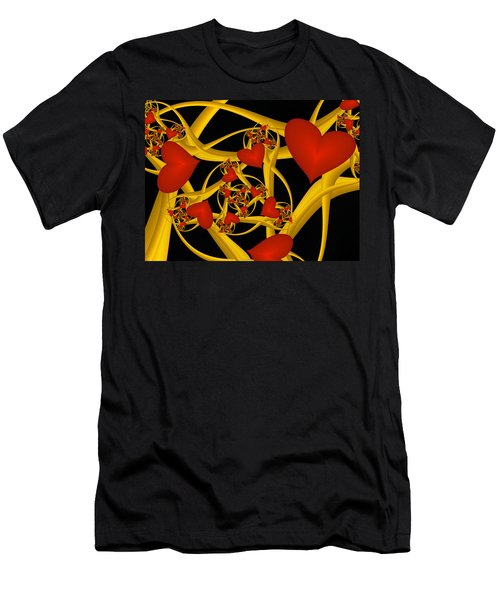 Fractal Love Ist Gold Men's T-Shirt (Slim Fit) by Gabiw Art