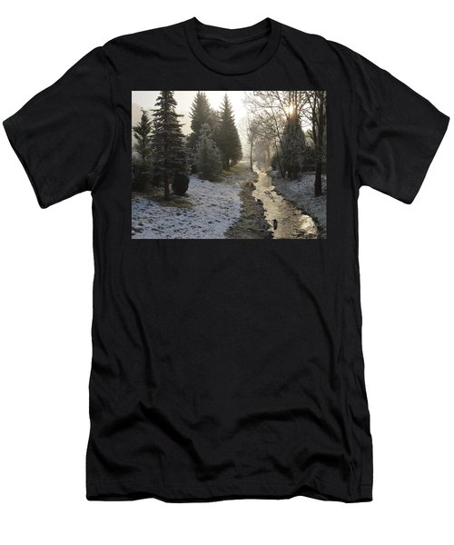 Men's T-Shirt (Slim Fit) featuring the painting Frozen Light by Felicia Tica
