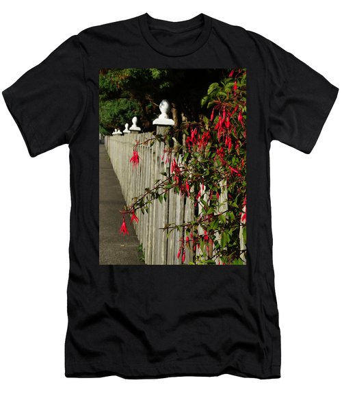 Fuchsias  And Fence Posts Men's T-Shirt (Athletic Fit)