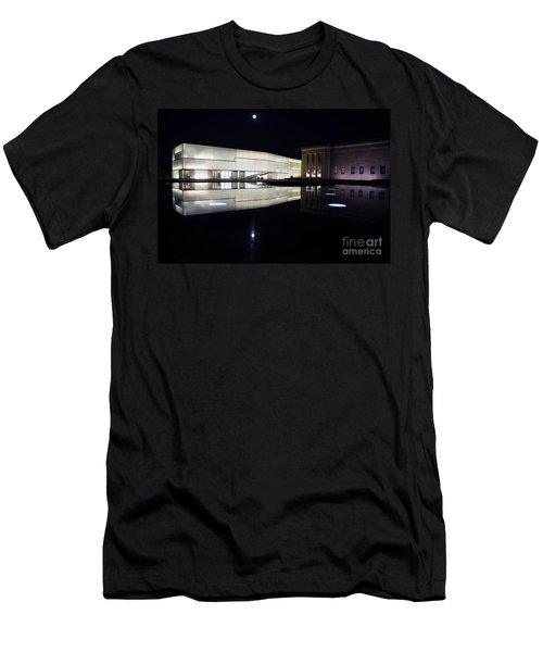 Full Moon Over Nelson Atkins Museum In Kansas City Men's T-Shirt (Slim Fit) by Catherine Sherman