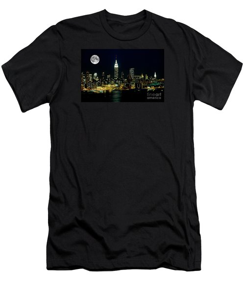Full Moon Rising - New York City Men's T-Shirt (Slim Fit) by Anthony Sacco
