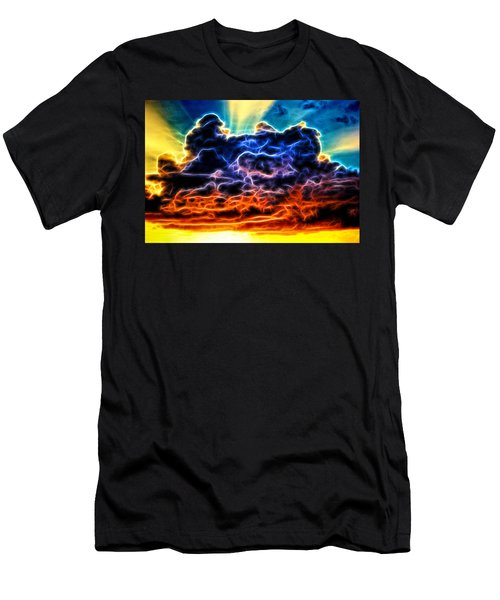 Funky Glowing Electrified Rainbow Clouds Abstract Men's T-Shirt (Athletic Fit)