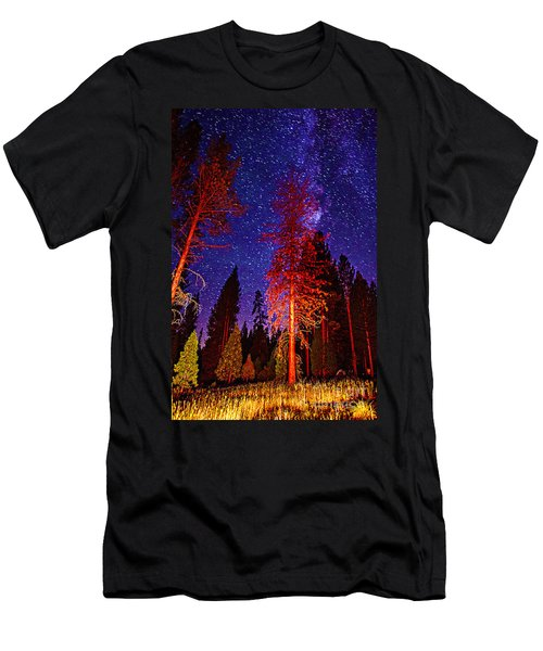 Men's T-Shirt (Slim Fit) featuring the photograph Galaxy Stars By The Campfire by Jerry Cowart