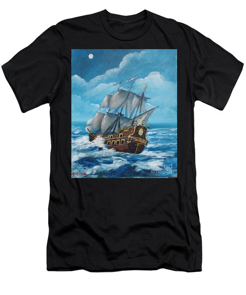 Galleon At Night Men's T-Shirt (Athletic Fit)