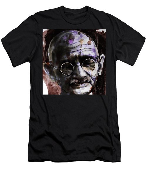 Men's T-Shirt (Slim Fit) featuring the painting Gandhi by Laur Iduc