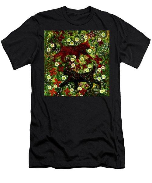 Garden Cats Men's T-Shirt (Slim Fit) by Barbara Moignard