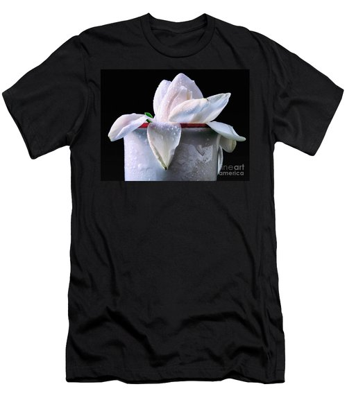 Men's T-Shirt (Slim Fit) featuring the photograph Gardenia In Coffee Cup by Silvia Ganora