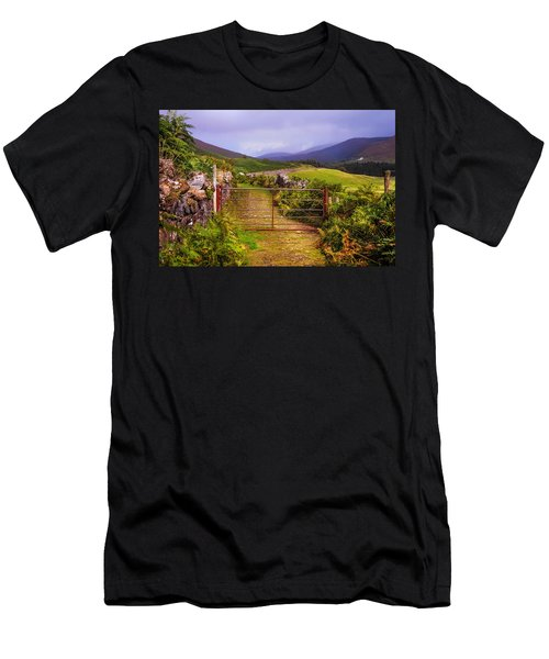 Gates On The Road. Wicklow Hills. Ireland Men's T-Shirt (Slim Fit) by Jenny Rainbow