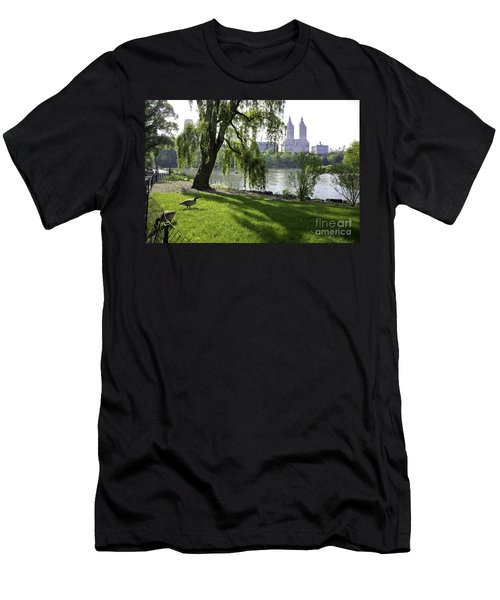 Geese In Central Park Nyc Men's T-Shirt (Athletic Fit)