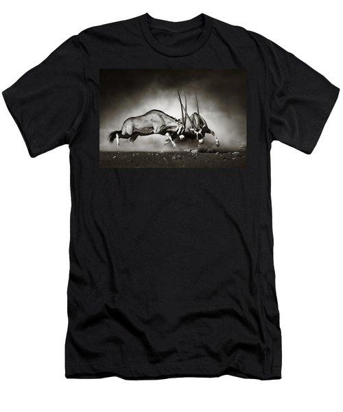 Gemsbok Fight Men's T-Shirt (Slim Fit) by Johan Swanepoel