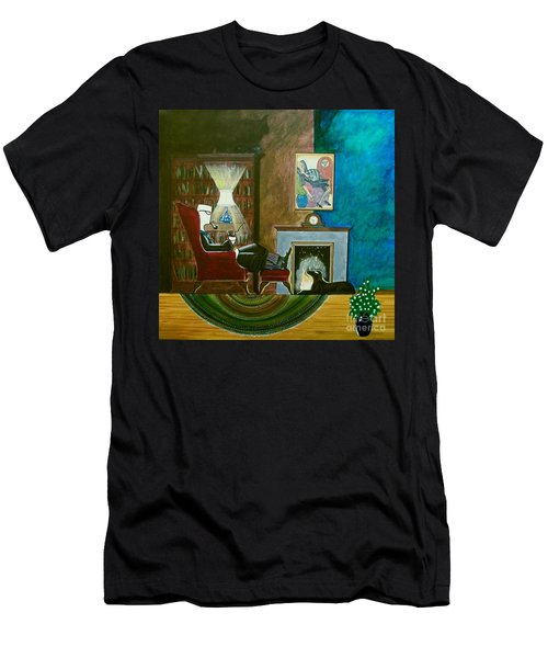 Gentleman Sitting In Wingback Chair Enjoying A Brandy Men's T-Shirt (Athletic Fit)