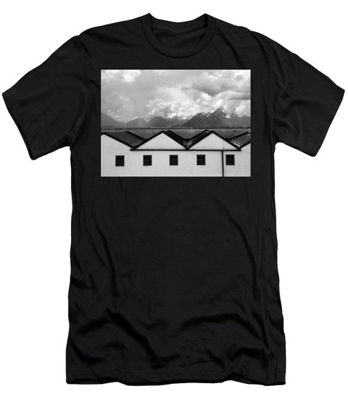 Geometric Architecture In Black And White Men's T-Shirt (Athletic Fit)