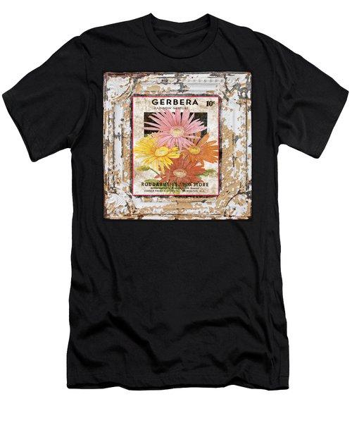 Gerbera On Vintage Tin Men's T-Shirt (Athletic Fit)