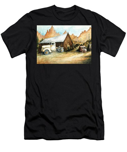 Ghost Town Nevada - Western Art Painting Men's T-Shirt (Athletic Fit)