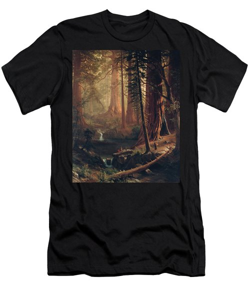 Giant Redwood Trees Of California Men's T-Shirt (Slim Fit) by Albert Bierstadt