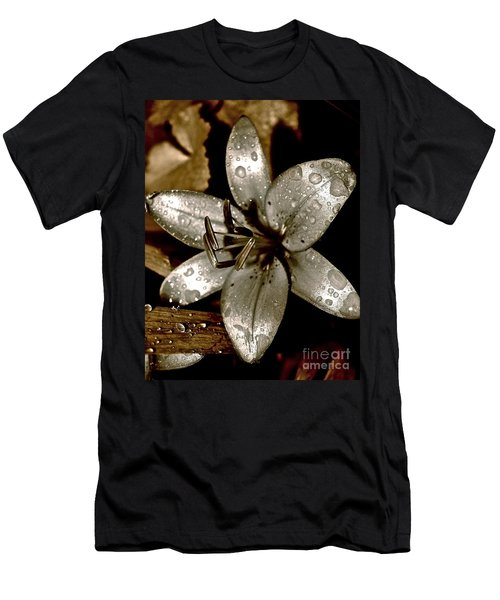 Men's T-Shirt (Slim Fit) featuring the photograph Gilded  Lilies 2 by Linda Bianic