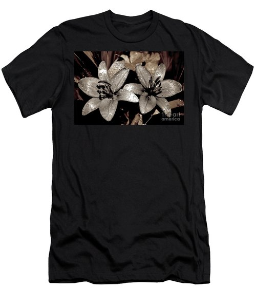 Men's T-Shirt (Slim Fit) featuring the photograph Gilded Lilies by Linda Bianic