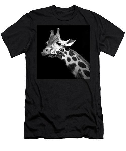 Portrait Of Giraffe In Black And White Men's T-Shirt (Athletic Fit)