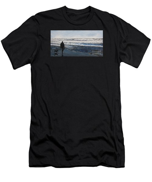 Girl And Dog Walking On The Beach Men's T-Shirt (Athletic Fit)