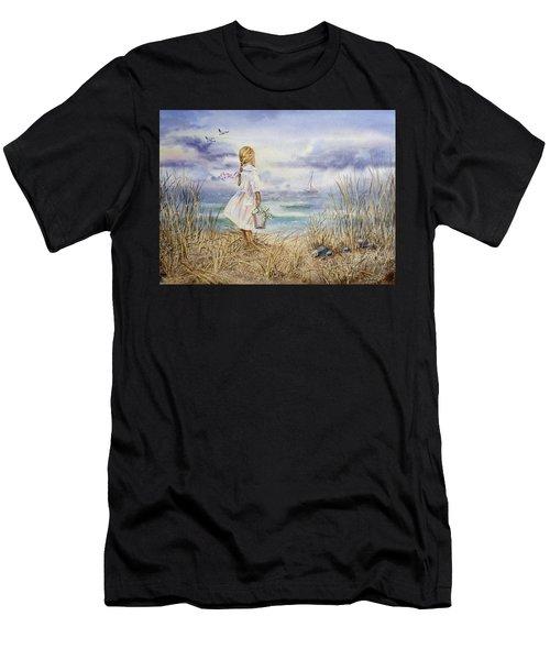 Girl At The Ocean Men's T-Shirt (Athletic Fit)