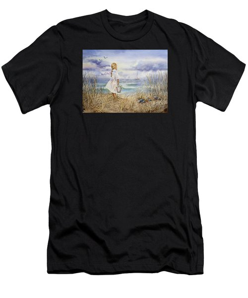 Girl At The Ocean Men's T-Shirt (Athletic Fit)